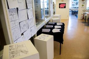 Utställningen där ett exemplar av seriefansinet är gratis att ta med hem och seriestripparna är uppsatta på väggen.