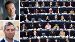 Svenskt näringslivs Karl Hulterström (nederst) och Anders Edholm skriver om att EU har en lägre tillväxt än exempelvis USA att vänta de närmaste åren.
