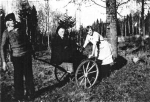 I björkhagen 1931 ses Ingemar Anderssons mamma, pappa samt i kärran farbror Gottfrid. Foto: Privat