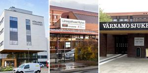 Höglandssjukhuset, Länssjukhuset Ryhov och Värnamo Sjukhus. Arkivbilder
