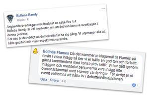 Bollnäs Bandy och supporterföreningen Bollnäs Flames vill att alla, oavsett åsikt i bandyhallsfrågan, ska bemötas med respekt.