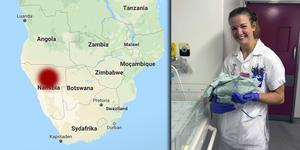 Thea Fredriksson har under hösten arbetat i Namibia under sin sjuksköterskepraktik.  – Jag har lärt mig om en annan verklighet, en annan sida av världen och det har verkligen öppnat mina ögon, säger hon.Foto: Google maps/ privat