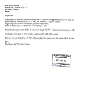 Sida ett av brevet (mejlet) från Västanfors IF till Fagersta kommun.