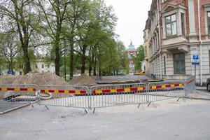Kyrkogatan där den går utanför kvarteret Björnen är nu helt avstängd för trafik.