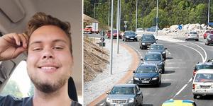 20-åriga  Alex Karlsson Mesch tröttnade på slöfockar på Västra vägen. Foto: Privat och Måna J. Roos