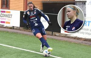Sofia Lagerström (stora bilden) gjorde Kvarnsvedens mål mot Uppsala. För Filippa Karlberg (infälld bild) slutade lördagen på Akademiska sjukhuset i Uppsala.
