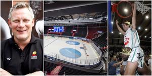 SBBK:s klubbdirektör Robert Andersson arbetar för att finalserien ska spelas i Scaniarinken. På TT-bilden till höger klipper guldhjälten Peter Theisz ned nätet i Scaniarinken 2005. Fotomontage: Mittmedia.