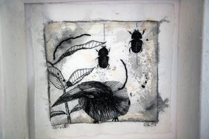 Ett broderat tryck med skalbaggar.