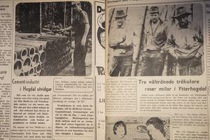 Tidningen Härjedalen från 1958. T.v. nr 35 om Bibbis pappa Olof Hedkvist och cementfabriken som drevs i huset samt nr 31 om träkolare som höll till på området runt