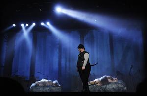 Mats Melin som hunden Toto är inte rädd för lejonen.