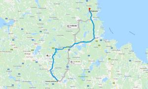 Fyndplatsen längs E4 norr om Gävle är belägen cirka 14 mil från centrala Avesta. Foto: Skärmdump från Google Maps