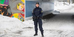 Andrea Persson, som syns mycket i tv-serien Södertäljepolisen.