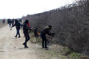 Migranter försöker ta sig igenom stängslet vid en turkisk-grekiska gränsen. Foto: Darko Bandic/AP