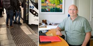 """""""Hur ska våra unga ta sig hem om de blir sjuka på andra tider än när ni bestämt att man får åka buss?"""" skriver Mats Nilsson (S), kommunstyrelsens ordförande i Säters kommun. Foto: Lars Dafgård/Karin Diffner/montage"""