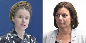 Amanda Lind (MP), kultur- och demokratiminister, samt Isabella Lövin (MP), vice statsminister, håller en pressträff tisdag den 12 maj klockan 13.00. Foto: TT.