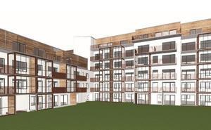 Skissvy från innergården av Lillskärs nya bostadskvarter.Bild: Werk Arkitekter