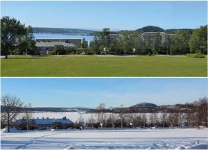 Bilderna visar utsikten över Storsjö strand etapp 2, från Österängsparken, före och efter utbyggnaden.Illustration ur  granskningsutlåtande