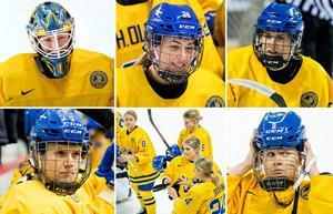 Sara Grahn, Erika Grahm Emma Nordin, Johanna Fällman och Annie Svedin beskriver sina lagkamrater i Damkronorna. Foto: Jon Oval Nesvold/Bildbyrån.