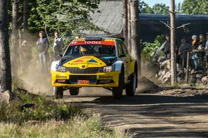 Martin Berglund körde sin Skoda Fabia R5 i South Swedish Rally i helgen. FOTO: PRIVAT