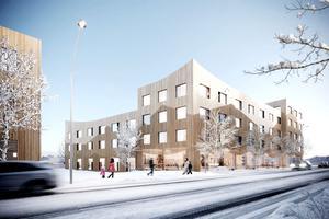Så här är det tänkt att det nya särskilda boendet vid Bangårdsgatan ska se ut om ett par år. Illustration: Magnolia Bostad