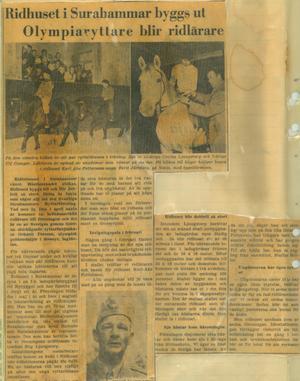 Ett av de första klippen med Surahammars ryttarförening är från 1960 och berättar att man lyckats värva fanjunkare och OS-medaljören Gehnäll Persson som ridlärare.
