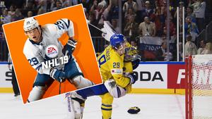 En redan klassisk bild, William Nylander slänger sig över Henrik Lundqvist för att fira VM-guldet. Nu får 22-åringen pryda omslaget till NHL 19.  Bilden är ett montage. Foto: Joel Marklund (bildbyrån) / Pressbild