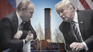 Rysslands president Vladimir Putin och USA:s dito Donald Trump. Maktspelet de två stormakterna emellan har fått stora konsekvenser för ryssägda Kubal i Sundsvall. Foto: TT/Arkivbild Illustration: Robin Brinck