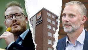 Timrå kommun går in i spartider. Timråpartiets Robert Thunfors och socialdemokraternas Stefan Dalin har olika syn på nedskärningarna. Bilden är ett montage.