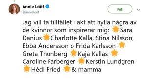 Skärmklipp från Annie Lööfs twitter.