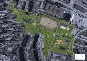 Skissen visar bland annat  lekpark, utegym, och boulebana. Bild: Alena Repko/Sundsvalls kommun