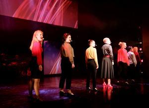 """Svenska akademien var ett återkommande tema under revy-SM. Med musik som påminde om kampsång från 70-talet uppträdde Katrineholmsreyvn med """"Kvinnorna och akademien""""."""