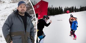 Alexander Lindström, ordförande Norbergs slalomklubb, och Frida Hansdotter på plats under Frida Hansdotter cup 2018.