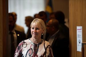 Utrikesminister Margot Wallström (S) vid tisdagens besök i stadshuset i Södertälje.