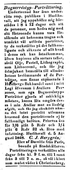 Annonsen i Hudiksvalls Weckoblad i augusti 1848.