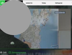 Skärmdump från TV-inslaget i NTV med kartan. Tjänstemannens ansikte har dolts eftersom han inte vill bli intervjuad idag.