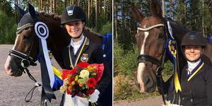 Saga Larsson och Julia Enqvist tog varsina guldmedaljer på DM i dressyr.