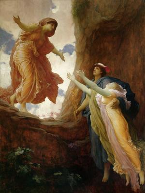 Persefone får äntligen återvända till sin älskade mor Demeters famn. Målning av Frederic Leighton från 1891.