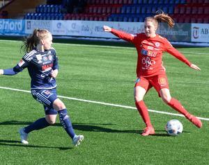 Emma Lindén i aktion under fredagens träningsmatch mot Kvarnsveden.