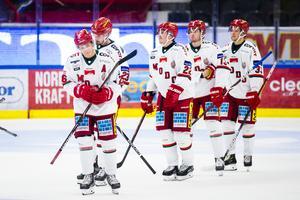 Det fanns anledning för Modo att deppa på lördagskvällen, då laget bara fick med sig en poäng hem från Västervik. Bild: Andreas Sandström/Bildbyrån