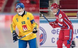 Andreas Westh och Yuri Vikulin. Foto: Rikard Bäckman / Bandypuls.se / TT /