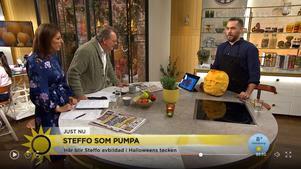 Under torsdagsmorgonen avbildade Jörgen Westin programledaren Steffo Törnquist som pumpa i TV4 Nyhetsmorgon. Foto: Skärmdump, TV 4.