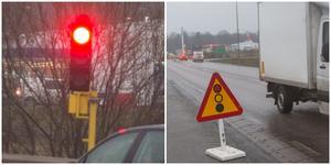 Trafiksignalerna blir kvar på bron över E20 i ytterligare fyra till fem månader. Trafikverket byter ut kantbalkar, vägräcken och tätskiktet under asfalten.
