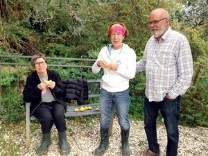 Fruktstund under olivplockningen med Gävlevännen Kerstin Brannerydh.