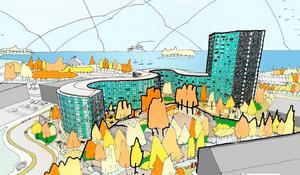 Från tornet ser man över Bedarön och ut över Mysingen. Illustration: Scheiwiller Svensson Arkitektbyrå.