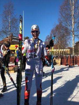 Maja Pålsson, Utrikes skidklubb blev tvåa i Ungdomsvasan i klassen D 13-14. Foto: Privat.