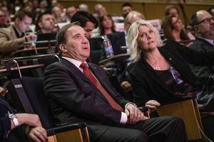 Socialdemokraternas partiledare Stefan Löfven (S) och partisekreterare Lena Rådström Baastad (S). Foto: Filip Erlind / TT.