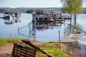 Vattennivån är fortsatt hög i Varpen.