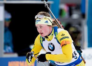 Emma Nilsson var bäst av de svenska skidskyttarna under fredagens sprint i ryska Tjumen.