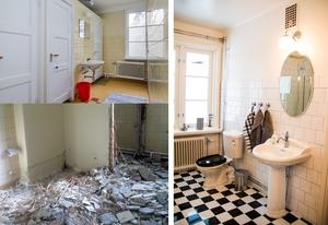 Före och efter. Före renoveringen bestod badrummet av flera toalettbås. Nu är det ett elegant badrum i engelskt 20-talsstil.