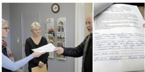 Kommundirektören Isabell Landström fick under måndagen ta emot namnlistorna från Curt-Eric Hermansson.